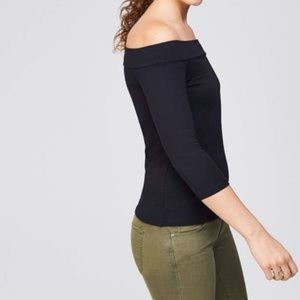 LOFT Off the Shoulder Tee NWT Black